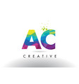 ac a c colorful letter origami triangles design vector image vector image