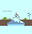 arab businessman jumping over obstacles over chasm vector image vector image
