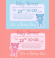 baby shower bear pink blue invitation card vector image vector image