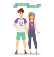 Beautiful cartoon couple fashion clothes