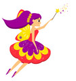 beautiful flying fairy flapping magic wand elf vector image