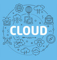 blue line flat circle cloud vector image vector image