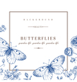 card with butterflies and flowers in blue vector image vector image