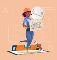 cartoon builder woman hold plan of building vector image vector image