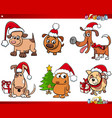 cartoon dog characters on christmas set vector image vector image