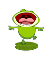 cartoon frog on a leaf with an open mouth vector image vector image