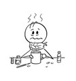 cartoon of sick man with influenza and fever vector image