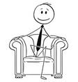 cartoon of successful businessman sitting in vector image