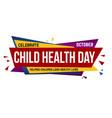 child health day banner design vector image