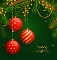 christmas background with red balls xmas baubles vector image vector image