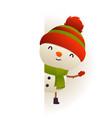 christmas cute snowman standing behind blank vector image vector image