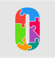 color jigsaw font puzzle pieces letter o vector image vector image