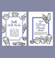 dairy sweet set of cards collection hand drawn vector image vector image