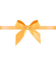 decorative orange bow with ribbon isolated on vector image vector image