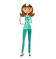 female doctor holding a clipboard flat cartoon vector image