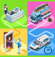 food truck fish shop home delivery isometric vector image vector image
