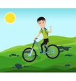 Funny bicyclist traveler with backpack riding a vector image