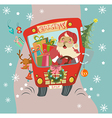 Funny Christmas background with Santa Clause and vector image