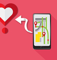 Gps Technology Smartphone find heart for love vector image vector image