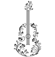 Guitar with floral details vector image vector image