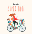 happy mothers day super mom on a bicycle with vector image