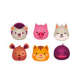 heads of cute animals set bear face of dog cat vector image vector image