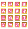 knight medieval icons set pink square vector image vector image