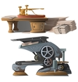 Old equipment for printing Newspapers and press vector image