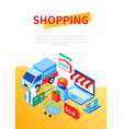 online shopping and delivery - modern colorful vector image vector image