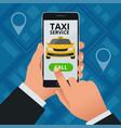 online taxi-service concept man orders a taxi vector image vector image