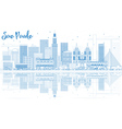 Outline Sao Paulo Skyline with Blue Buildings vector image vector image