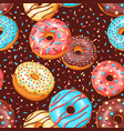 seamless pattern with glaze donuts and sprinkles vector image vector image