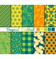 Set of 10 simple seamless patterns Tropical