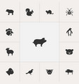 set of 13 editable animal icons includes symbols vector image vector image