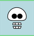 simple cartoon skull icon cute head bone on blue vector image