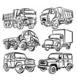 sketch of truck and suv vector image