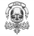 skull vintage ribbon vector image vector image