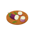 sliced vegetable eggplant on a kitchen wooden vector image vector image