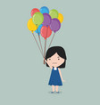 small girl holding balloon vector image vector image