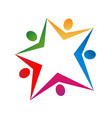 star shape and people team group icon vector image vector image