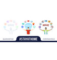 stay at home concept character with his hands up vector image vector image