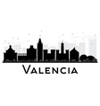 Valencia City skyline black and white silhouette vector image vector image