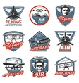 Vintage Colorful Aircraft Logos vector image vector image
