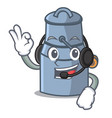 with headphone milk can mascot cartoon vector image vector image