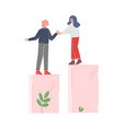 woman helping man to climb up on column columns vector image