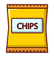 Yellow pouch of potato chips icon cartoon style