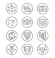 zodiac astrology line icons aries vector image vector image