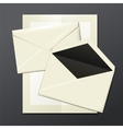 Blank white envelopes opened close and a letter vector image