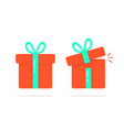 red closed and open gift boxes vector image