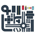 traffic roads top view set vector image